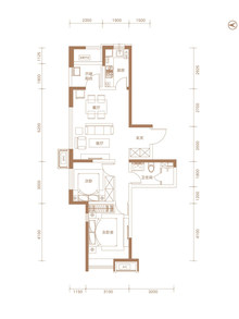 2室2厅1卫A区-84㎡户型