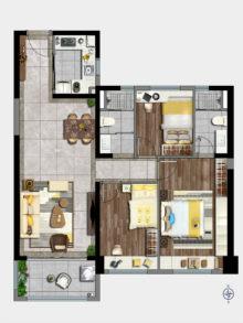 3室2厅2卫115㎡户型