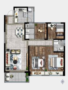 4室2厅2卫143㎡户型