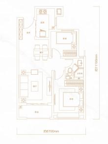 2室2厅1卫80㎡户型