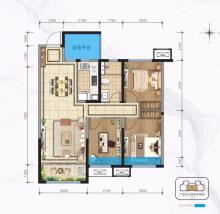 建面约103㎡ 三室两厅一卫